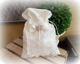 Ivory Dollar Dance Bag, Wedding Money Bag, Bridal Bag, Bridal Purse, Bridesmaid Bag, Wedding Money Purse, Jewelry Pouch