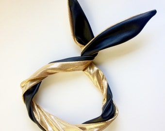 Accessories Top Knot Headband, Gift for Her Headband, Top Knot Headband Gold, Womens Black Headband,