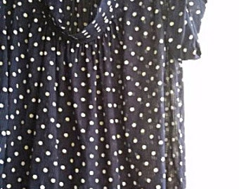 M - L -  90s Summer Cotton Blouse Top -  Polka Dot Navy Blue White Cotton - French Connection Women Top - Size 12