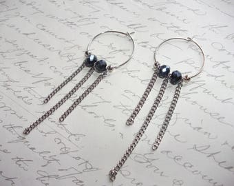 Silver hoop earrings with chain drops and black crystal beads
