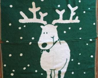 Vintage Randolph The Reindeer Blanket, Christmas Reindeer Blanket, Crown Crafts Inc Christmas Blanket, In TWO Pieces