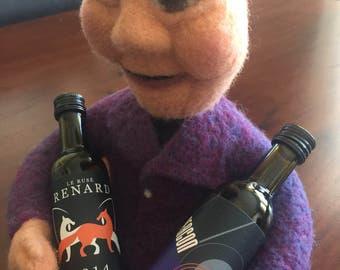 Needle Felted soft sculpure wine doll, needle felted female doll with wine bottles, needle felted decorative doll