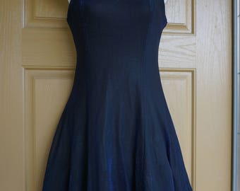 All That Jazz Blue Shimmer Mini Dress 90s small 5 6 strappy iridescent blue sparkles