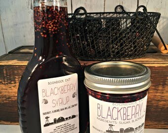 Blackberry Jam and Blackberry Syrup Combo - Breakfast Syrup - Real Fruit Syrup - Hostess Gift - Housewarming Gift - Boondock Enterprises