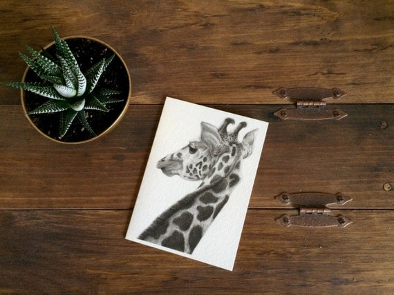 "Giraffe Charcoal Drawing PRINT on 5""x7"" Card - Baby Shower Card - Birthday Card - Safari Animal - Black and White - Gift for Her - Nursery"