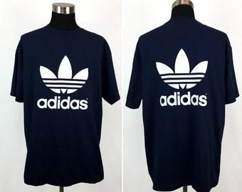 Vintage 80s ADIDAS Oversized Front & Back Graphic T-Shirt XL // Athletic // 1980s // Stripe // Blue // Hip Hop // Streetwear // Soccer