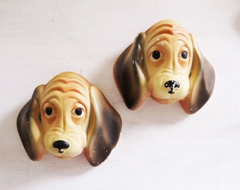 Basset Hound Dog  Chalk ware Plaques C Miller Studio Pair of Puppy Dog wall plaques