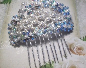 Hair comb wedding Bridal jewelry, Bridal hair comb sterling silver, white Pearls Haircomb jewelry headpiece