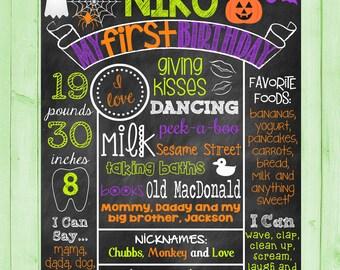 Custom Printable Chalkboard Halloween Birthday Favorites Poster Board Sign Halloween Chalkboard