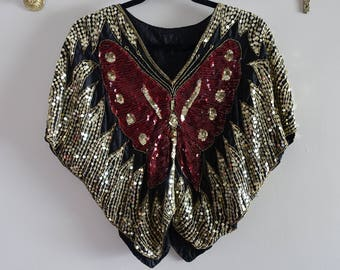 Vintage 80s Red and Gold Sequin Butterfly Top