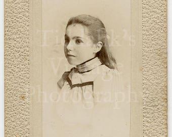CDV Carte de Visite Photo - Portrait of a Pretty Young Victorian Girl Wearing Neck Collar - F Futcher of Warminster England (Textured Frame)