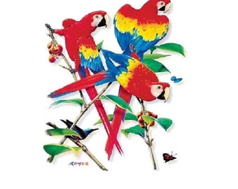 Parrot Shirt, Scarlet Macaw Parrot T SHIRT, (Sweatshirt, Quilt Fabric Block, Tote Bag, Apron, Hoodie, Pillowcase Available On Request) #208a