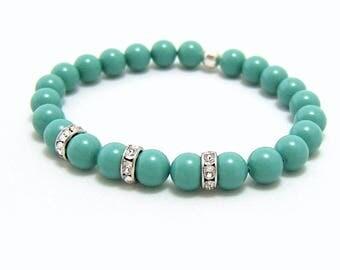 SALE ~ Swarovski Pearl Bracelet ~ 8mm Jade Swarovski Pearl beads & Crystal Spacers ~ custom size ~ stretch ~ Prom Graduation Wedding