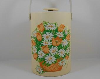 Georges Briard Ice Bucket, Vintage 1960s-1970s Tulip & Daisy Pink Green White Cream Retro Hollywood Regency Party Bar Ice Bucket