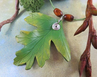 HAWTHORN LEAF Pendant Leather Necklace with silver wire spiral