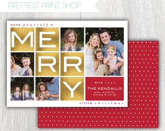 Printable Christmas card with photos - Have yourself a merry little Christmas - Gold lettering - Photo Grid - Holiday card - Customizable