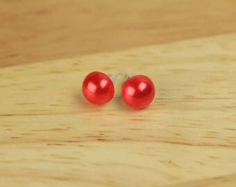 Red Pearl Earrings, Red Bridesmaid Jewelry, Red Pearl Studs, Wedding Earrings, Red Bridal Jewelry, Gift for Her, Red Wedding Jewelry