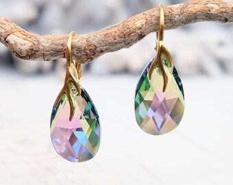 24k Gold Plated Swarovski Earring-Multi Tone Teardrop Earring-Swarovski Crystal Jewelry-Purple Green Wedding Bridesmaids Dangle Drop Earring