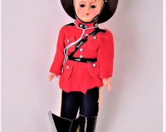 "Vintage Canadian Mounted Police Hard Plastic 7.5"" Doll"