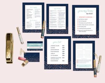 LipSense Marketing Material Set - Navy Dots Pattern  (7 items)