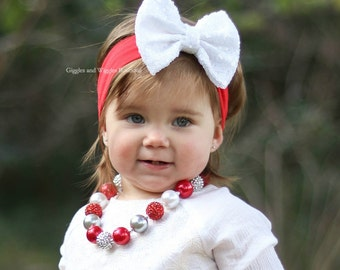 Baby necklace, red silver white, chunky necklace, girl necklace, children necklace, 1st birthday, chunky bead, infant girl