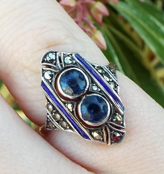 SALE! Vintage Art Deco 9ct Gold + Silver Sapphire Paste Enamel + Marcasite Ring Size J 1/2
