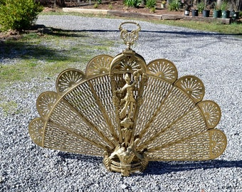 Vintage Brass Fireplace Screen Fan Peacock Fanning Ornate Victorian Style Neoclassical Hollywood Regency PanchosPorch