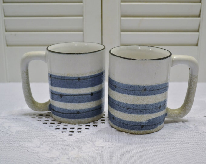 Vintage Holt Howard Coffee Mug Set of 2 Blue Gray Stripe Dated 1964 PanchosPorch