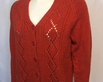Vintage Hand Knit Rust Orange Cable Knit Long Sleeve Cardigan Sweater Large L with Pockets