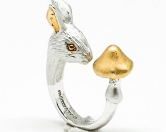 Rosy Rhodium Rabbit Ring