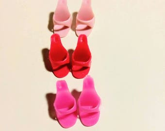 1960's Barbie heels pink pale pink red open toe 3 pairs Taiwan