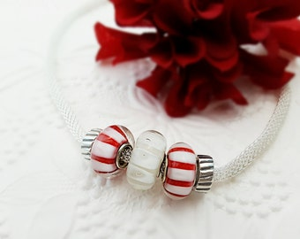 Candy Cane Necklace, Peppermint Striped Necklace, Silver Necklace, Christmas Necklace, Peppermint Necklace, Red and White Stripes, N4007