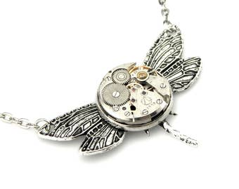 Edwardian Dragonfly Necklace - clockwork dragonfly Steampunk pendant -  steampunk dragonfly