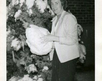 Vintage Photo..Big Snow, 1940's Original Found Photo, Vernacular Photography
