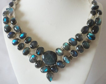 Gorgeous 340 Carats Labroadorite Marquiste Pear Necklace********