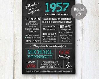 Surprise 60th Birthday Invitations | Chalkboard 60th birthday invitation for him best boss grandfather father | Fun facts 1957 DIGITAL file!