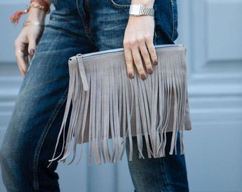 Gray suede  clutch