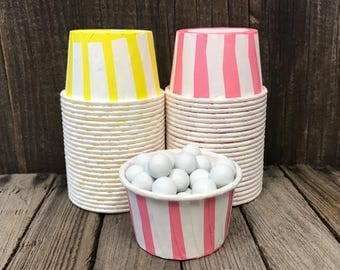 Yellow and Pink Paper Snack Cups - Set of 48 - Stripe Candy Cup - Birthday Party - Mini Ice Cream Cusp - Paper Nut Cup - Same Day Shipping