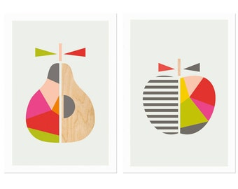 Geometric Apple and Pear Series of Two, Nursery Decor, Modern Nursery Art, Modern Kids Wall Art, Kids Room Art.
