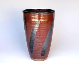 Ceramic vase, tall vase, flower vase, pottery vase, red vase, high fired, stoneware