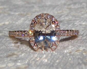 Peach Sapphire in Rose Gold Diamond Halo Engagement Ring, Rose Gold Engagement Ring, Oval Pink Sapphire Engagement Ring