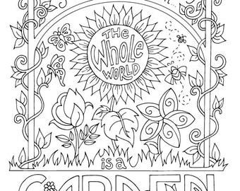 secret garden coloring page frances hodgson burnett quotes adults kids printable