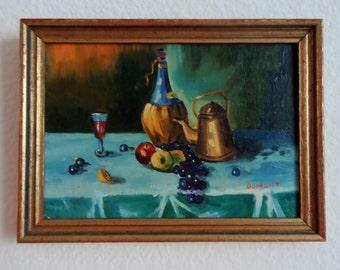 "VTG X-Small 1960's Original Still Life Painting Kitchen Art 7.5"" x 5.5"" Bright Colors Deep Purple GreenBlue Red Yellow"