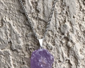 ROUGH AMETHYST CRYSTAL Necklace, Rock Jewelry, Geo, Crystal Necklace