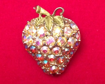 Gorgeous Vintage 60s AB Rhinestones and Enamel Strawberry Brooch Pin
