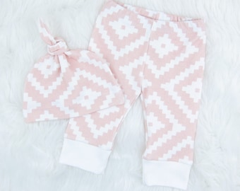 Pink Aztec Baby Girl Outfit | Pink Baby Girl Clothes | Baby Girl Gift Set - READY TO SHIP 3M