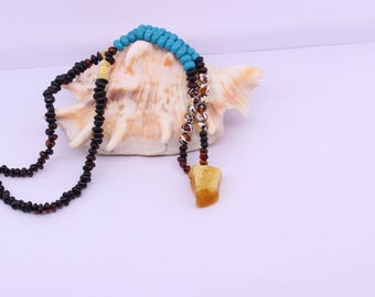 Amber Bead Necklace, Natural gemstone jewelry, Womens necklace, Natural Amber, Turquoise bead jewelry, Birthday gift ideas, Chakra necklace