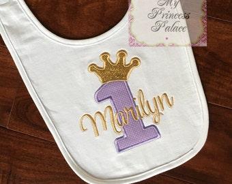 Personalized Princess Crown 1st Birthday Bib **SALE**