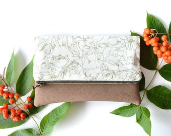 Woodland Wedding Clutch Purse, Mother's Day Gift for Her, Womens Clutch, White Bridesmaid Bag, Leather Foldover Purse, Folded Clutch Bag