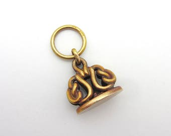 Antique 14-18k Yellow Gold Patina Watch Fob Seal Twisted Knot Signed